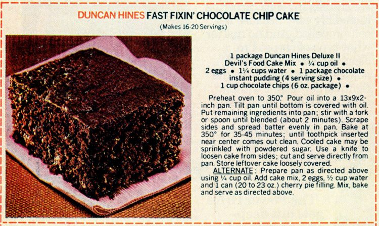 Vintage cake mix recipes from 1978 - Fast fixin-chocolate chip cake