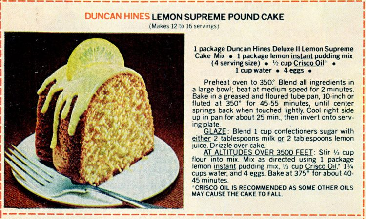 Vintage cake mix recipes from 1978 - Lemon supreme pound cake