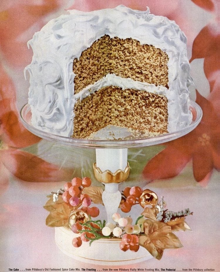 Vintage cake on a cake stand from 1955