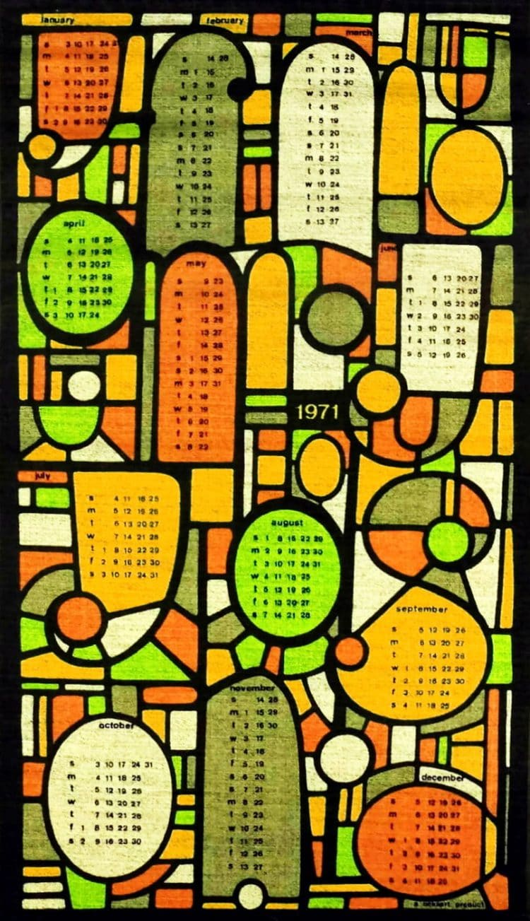 Vintage calendar towel - Retro stained glass design from 1971