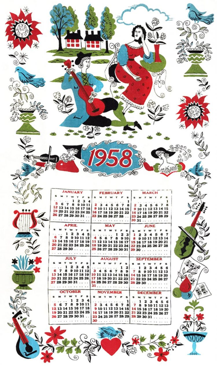 Vintage calendar towel from 1958
