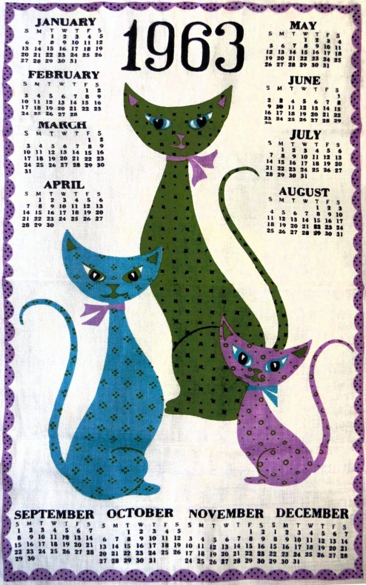 Vintage calendar towel from 1963