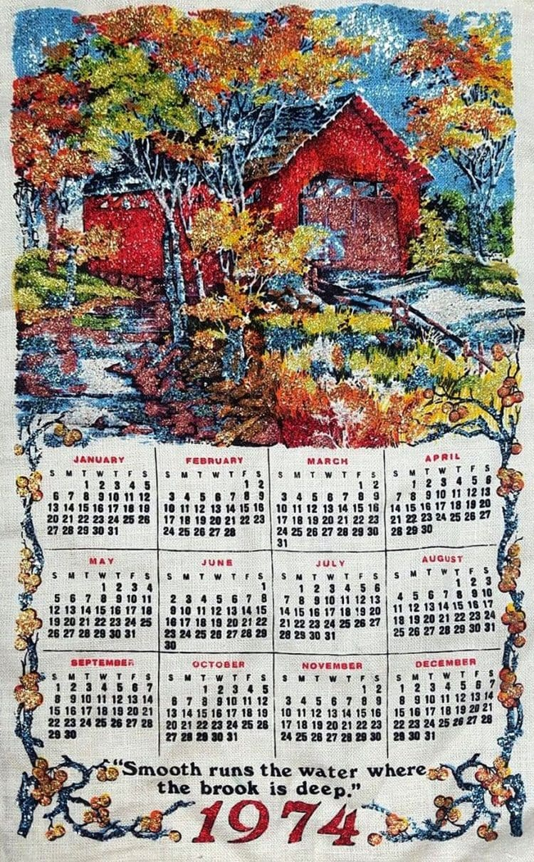 Vintage calendar towel from 1974