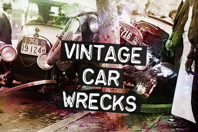Vintage car wrecks from the days before seatbelts and airbags