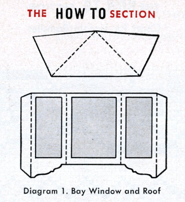 Vintage cardboard dollhouse diagram for bay window and roof