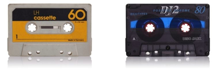 Retro music cassette tapes