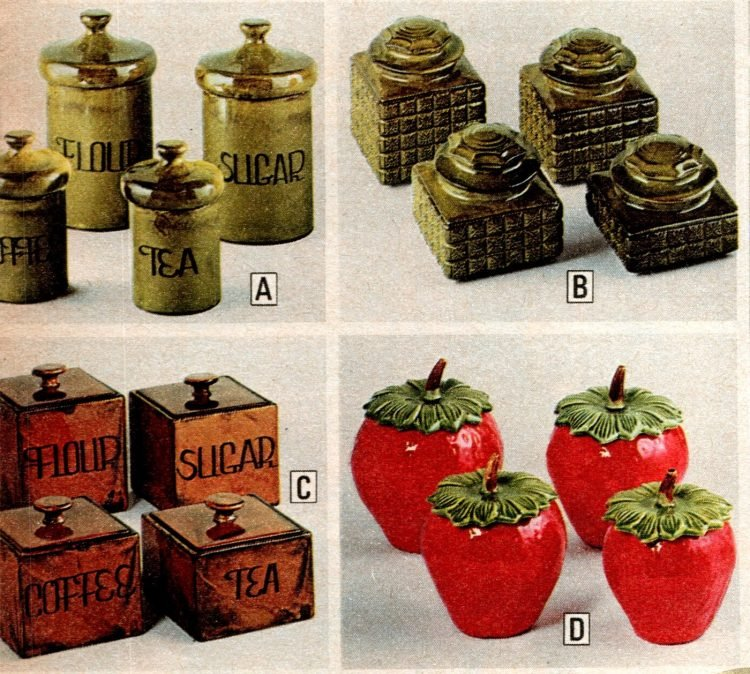 Vintage ceramic kitchen canisters from the 1970s