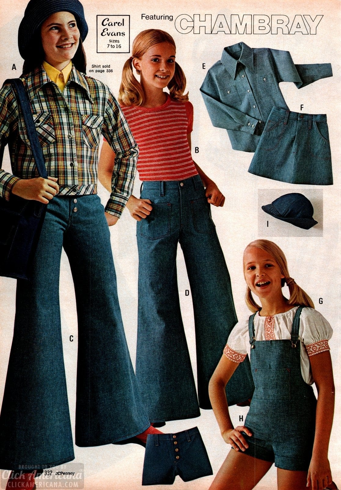 Vintage chambray denim bell bottoms and outfits for girls - from 1973