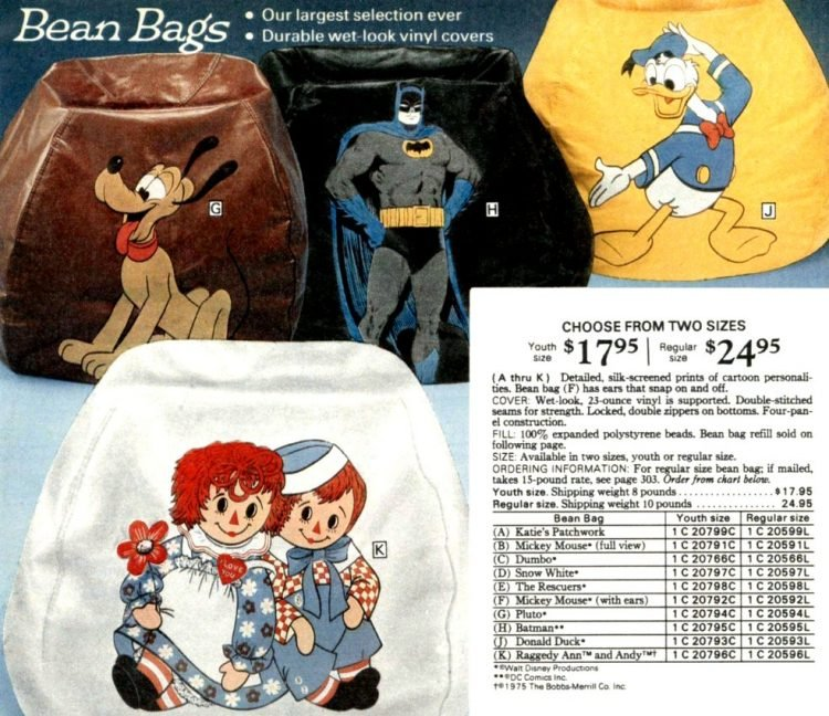 Vintage character bean bags from 1977