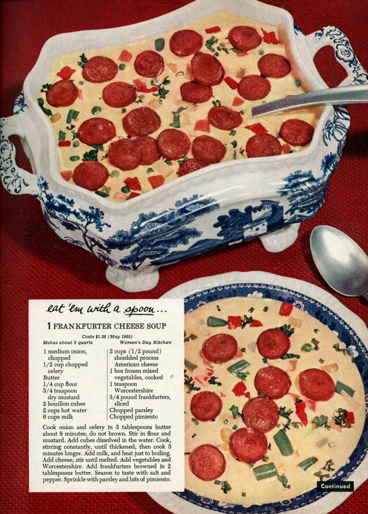 Vintage cheese hot dog soup recipe from 1955