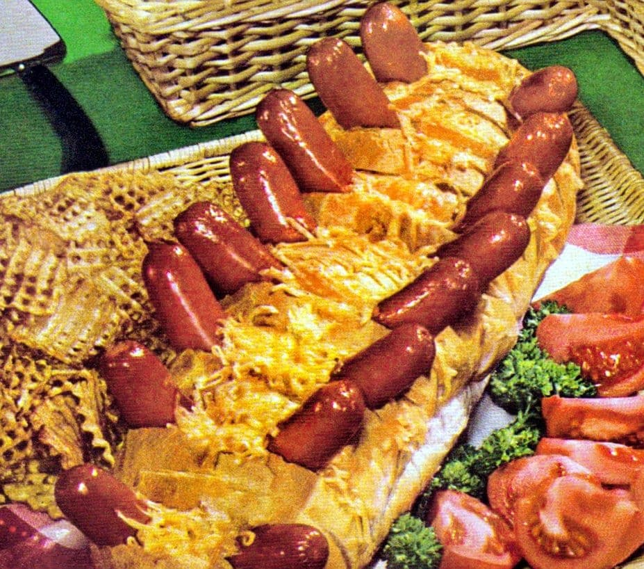 Vintage cheesy hot dogs from the '60s