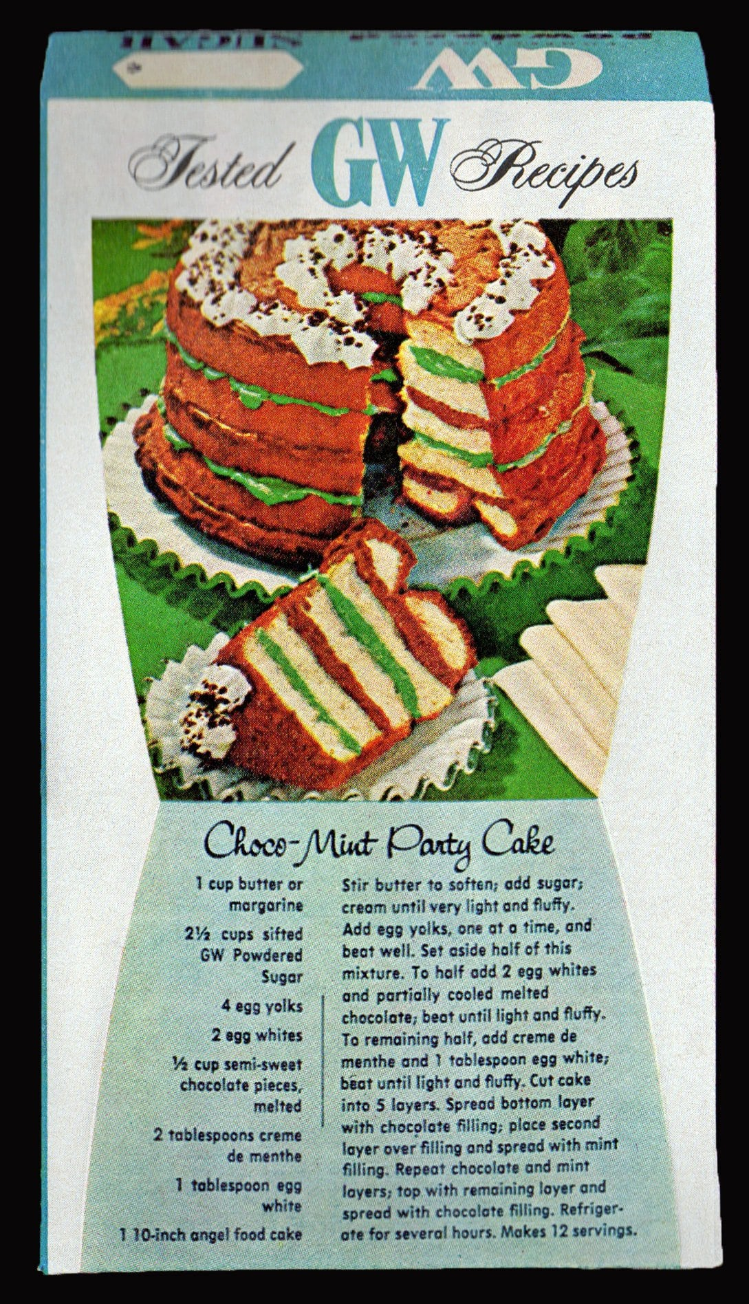 Vintage choco-mint party cake recipe (1967)