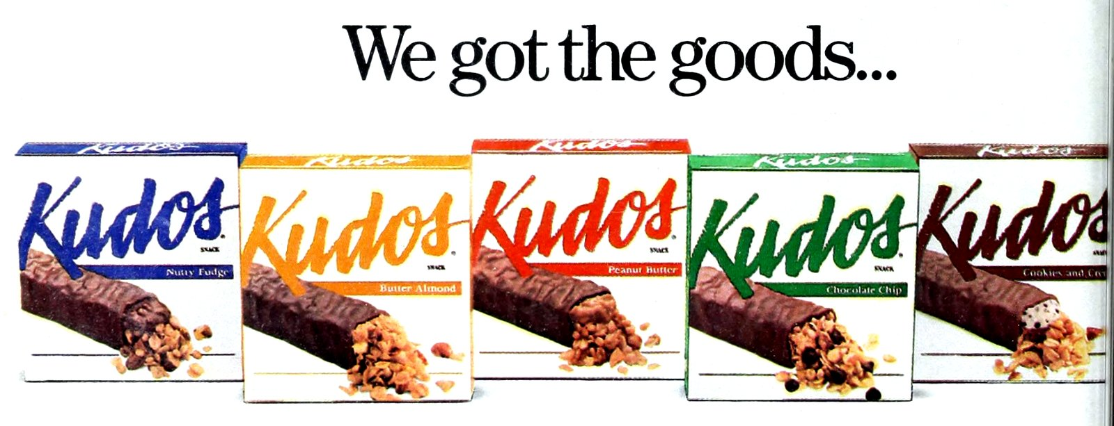 Vintage chocolate-covered Kudos granola snack bar flavors in 1990 (1)