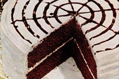 Vintage chocolate dessert - Devil's food whirligig cake 1950