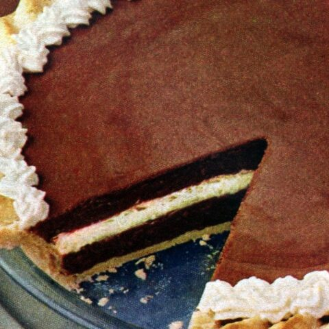 Vintage chocolate rum striped pie