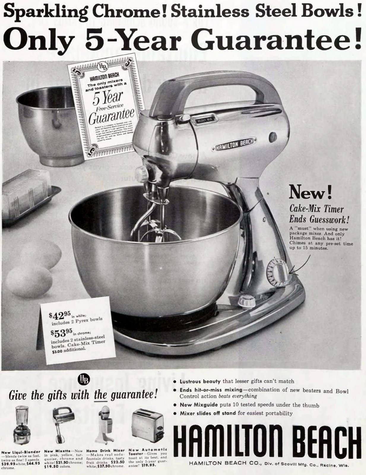 Vintage chrome and stainless steel Hamilton Beach stand mixer (1956)