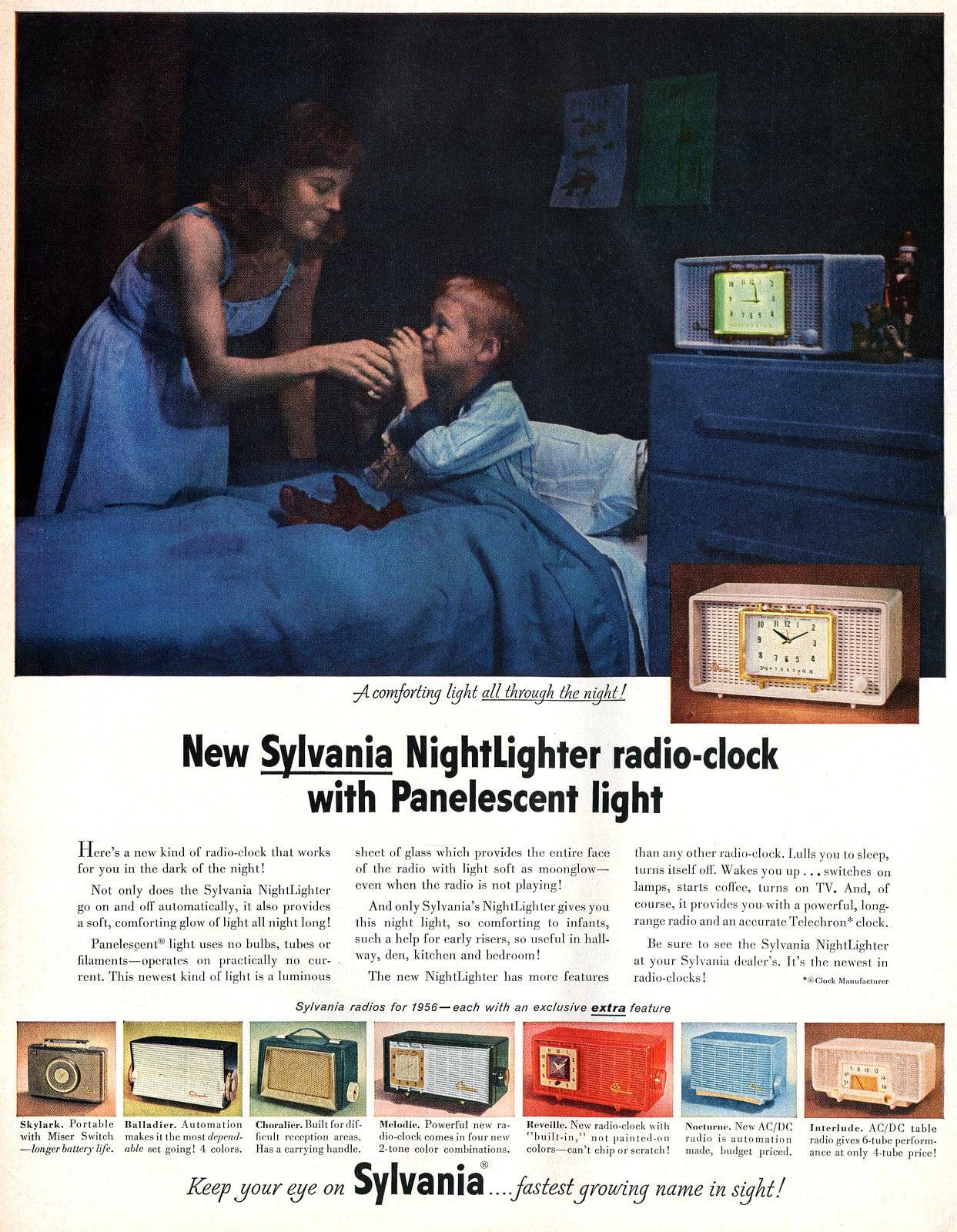 Vintage clock radios from 1955 - Sylvania NightLighter