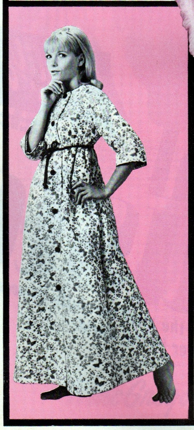 Vintage clothing from the 60s - Floor-length cotton quilted robe