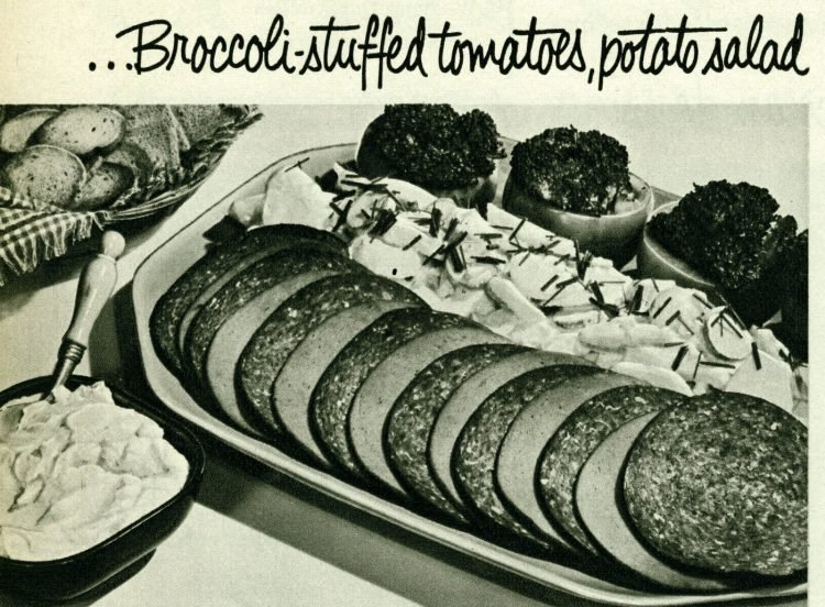 Vintage cold cuts sides - Broccoli-stuffed tomatoes, potato salad