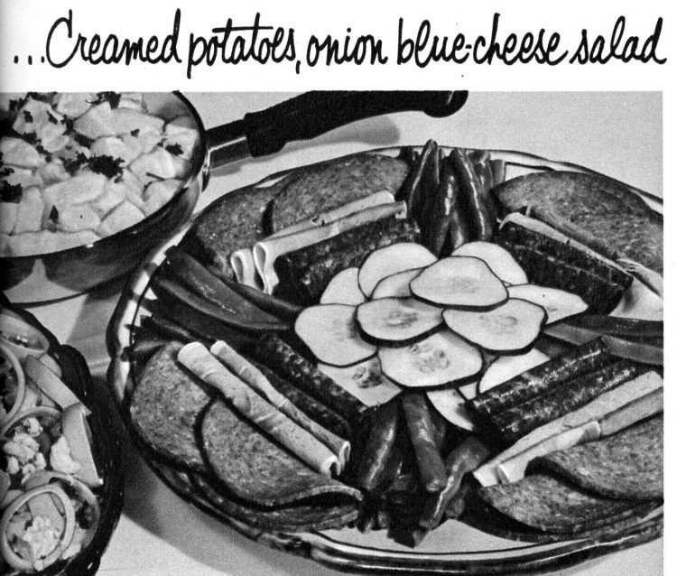 Vintage cold cuts sides - Creamed potatoes, onion blue cheese salad
