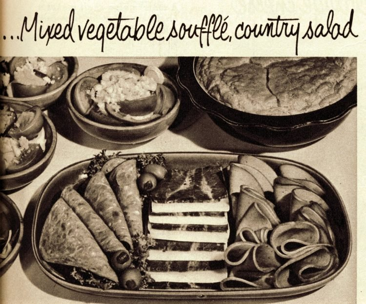 Vintage cold cuts sides - Mixed vegetable souffle, country salad