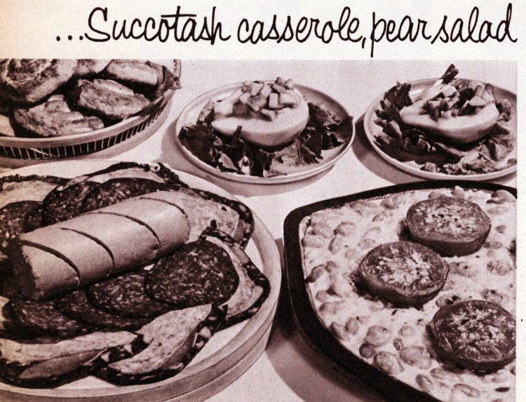 Vintage cold cuts sides - Succotash casserole, pear salad