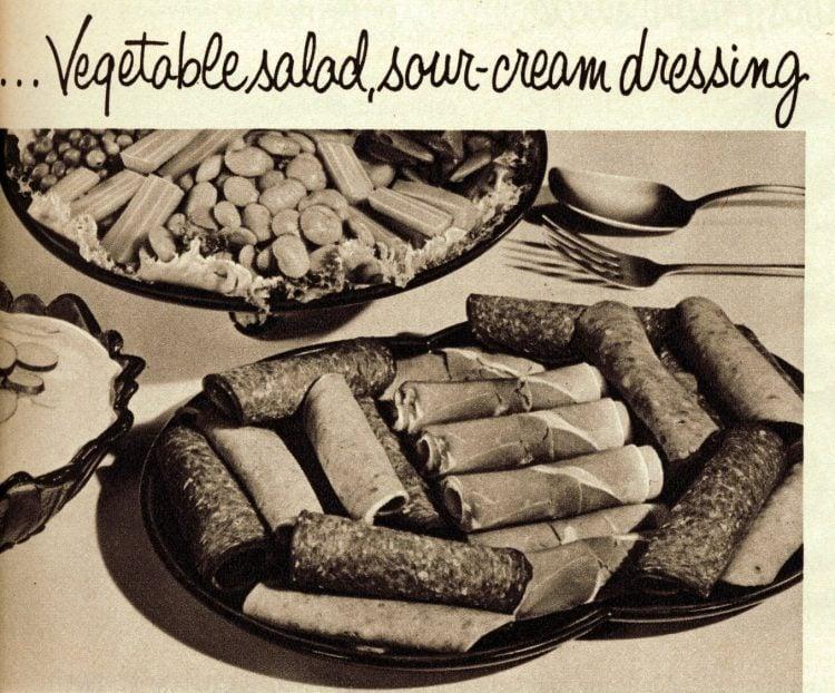Vintage cold cuts sides - Vegetable salad, sour-cream dressing