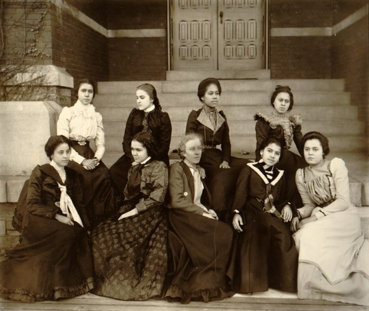 Vintage college women on steps - Antique portrait