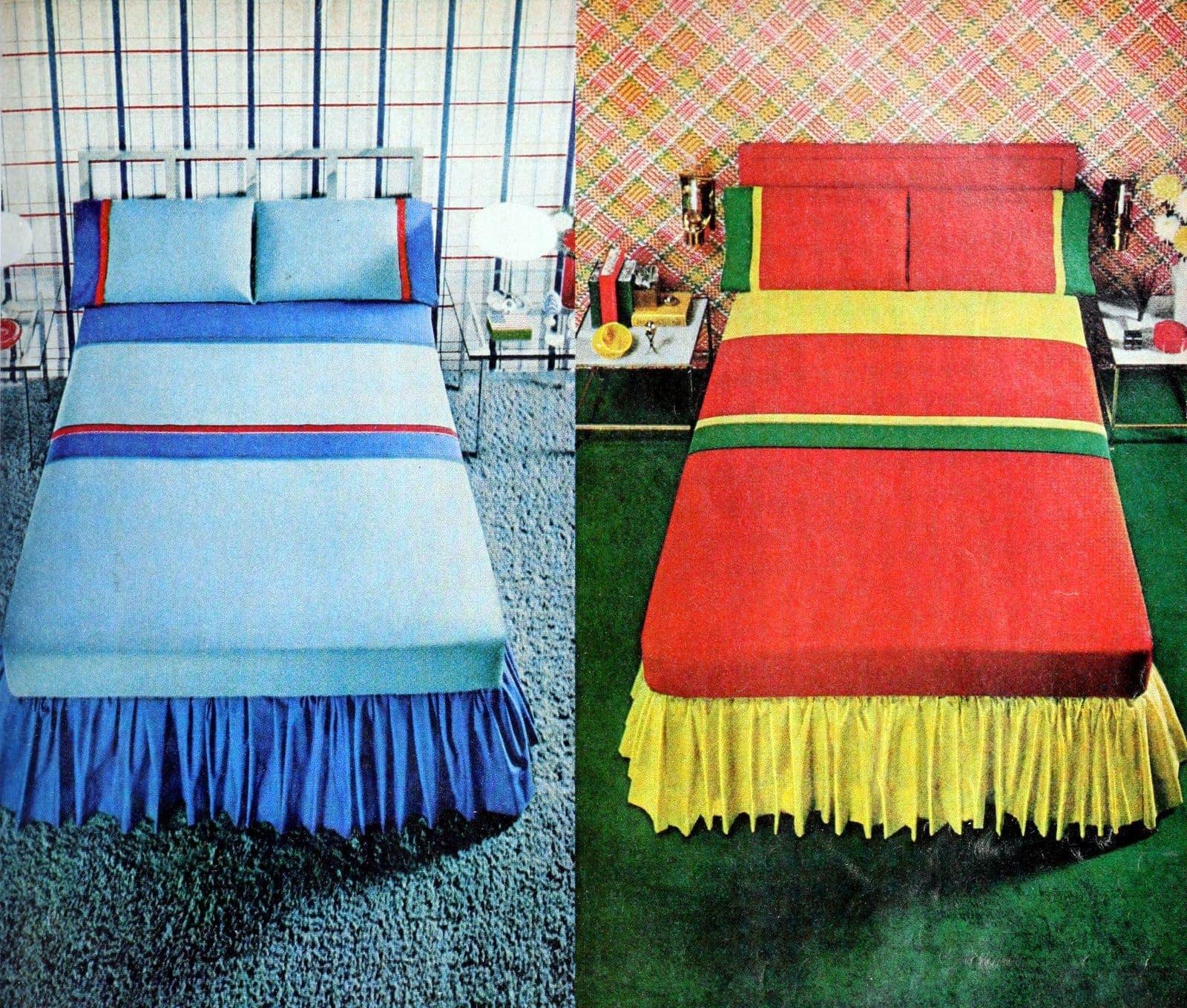 Vintage colorblock bedding for kids (1972)