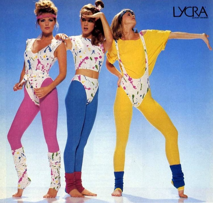 Vintage colored Lycra tights from the 1980s