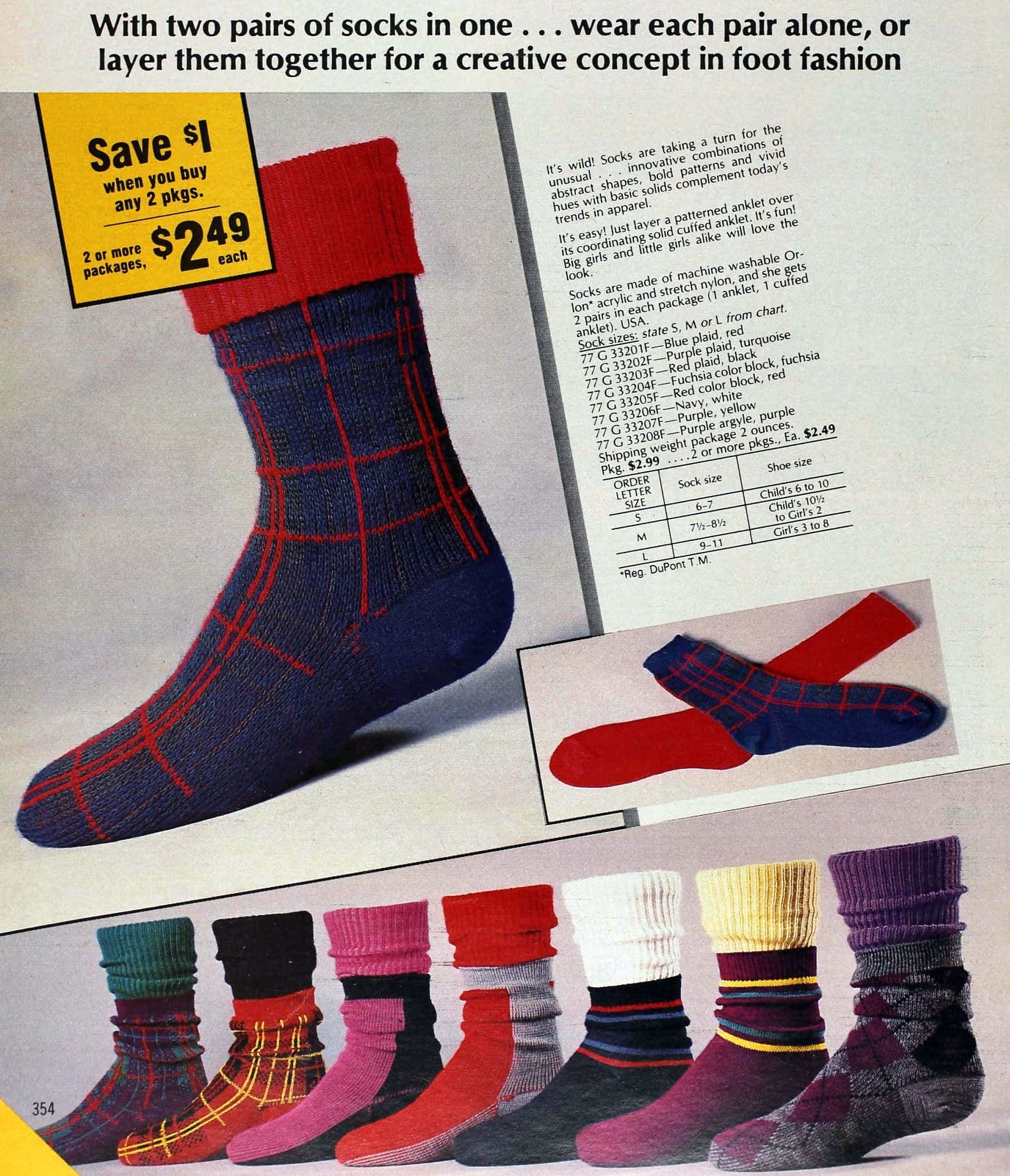 Vintage colorful doubled socks from the eighties