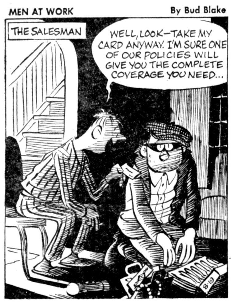 Vintage comic panel 1957 - Men at Work