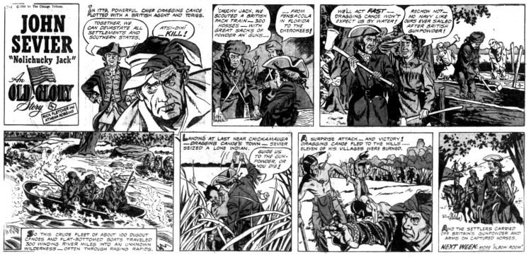 Vintage comic strip 1956 - John Sevier Nolichucky Jack - An Old Glory story