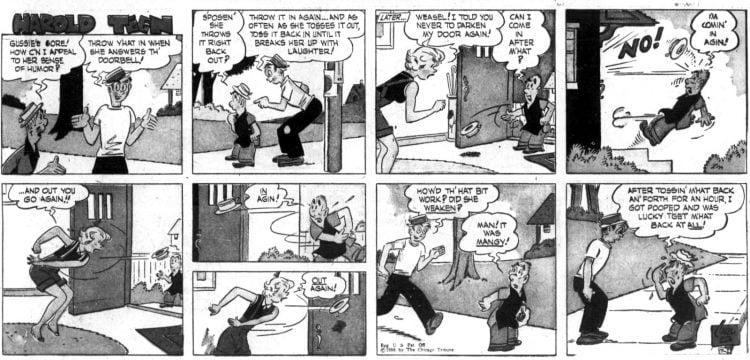 Vintage comic strip 1956 - Sunday - Harold Teen