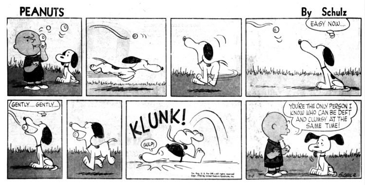 Vintage comic strip 1956 - early Peanuts with Charlie Brown and Snoopy