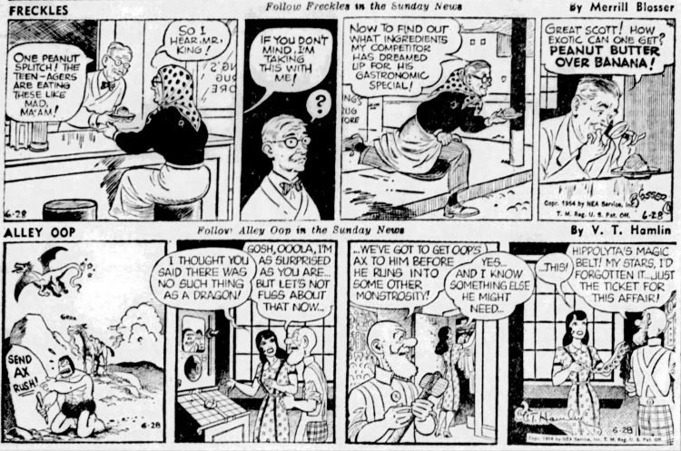 Vintage comics from the '50s Freckles and Alley Oop - Intelligencer Journal Jun 28 1954