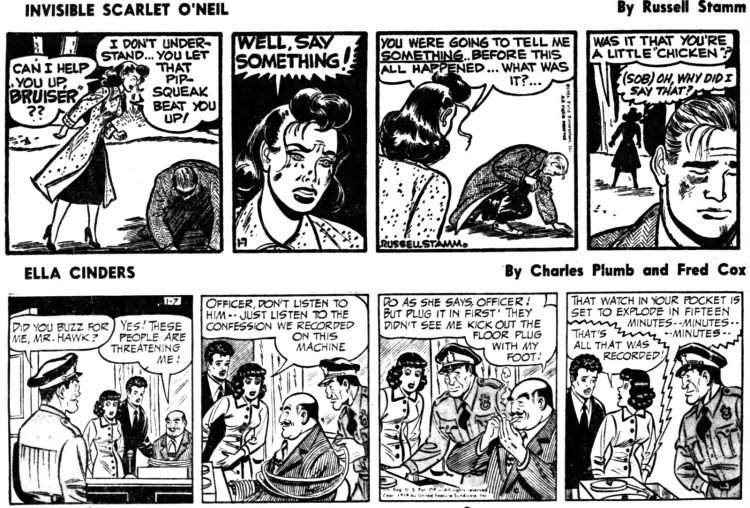 Vintage comics from the '50s Invisible Scarlet O'Neil and Ella Cinders - Daily Independent Journal Jan 7 1954