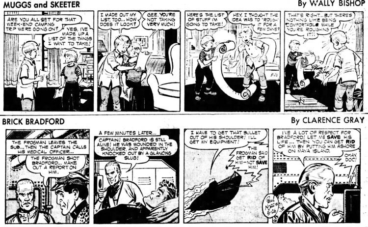 Vintage comics from the '50s Muggs and Skeeter and Brick Bradford - The Daily Notes May 26 1954