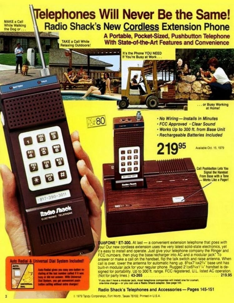 Vintage cordless phone for 1980 - Tandy tech at Radio Shack