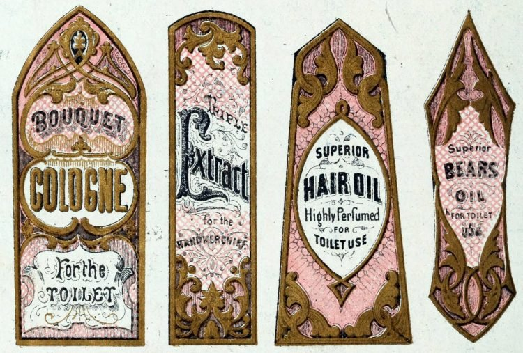 Vintage cosmetic labels from 1875