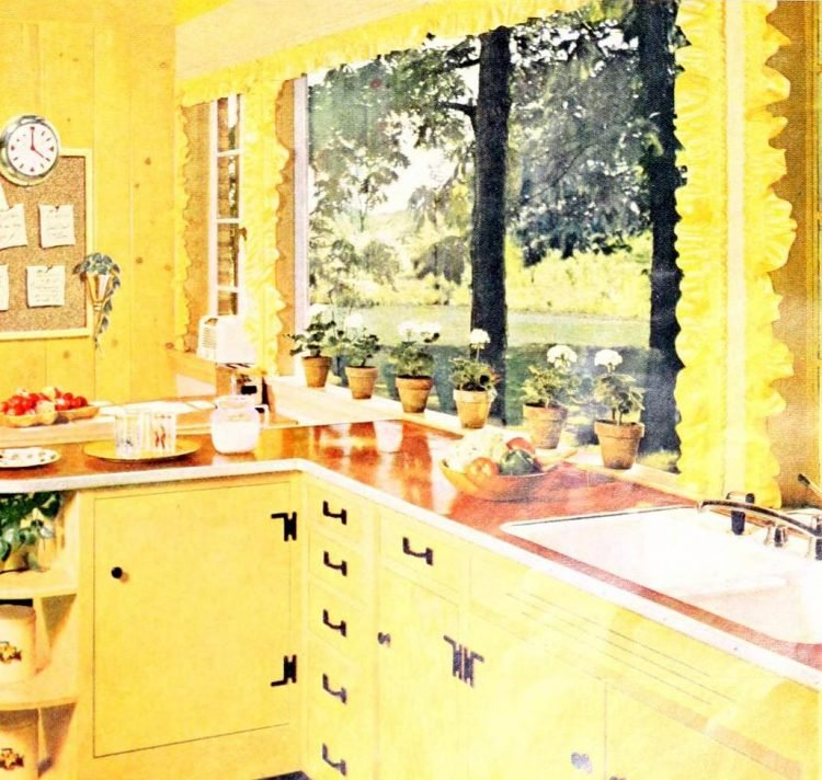 Vintage country kitchen with red countertops (1955)