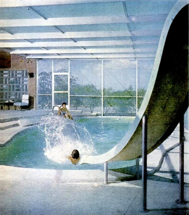 Vintage covered patio over fiberglass pool