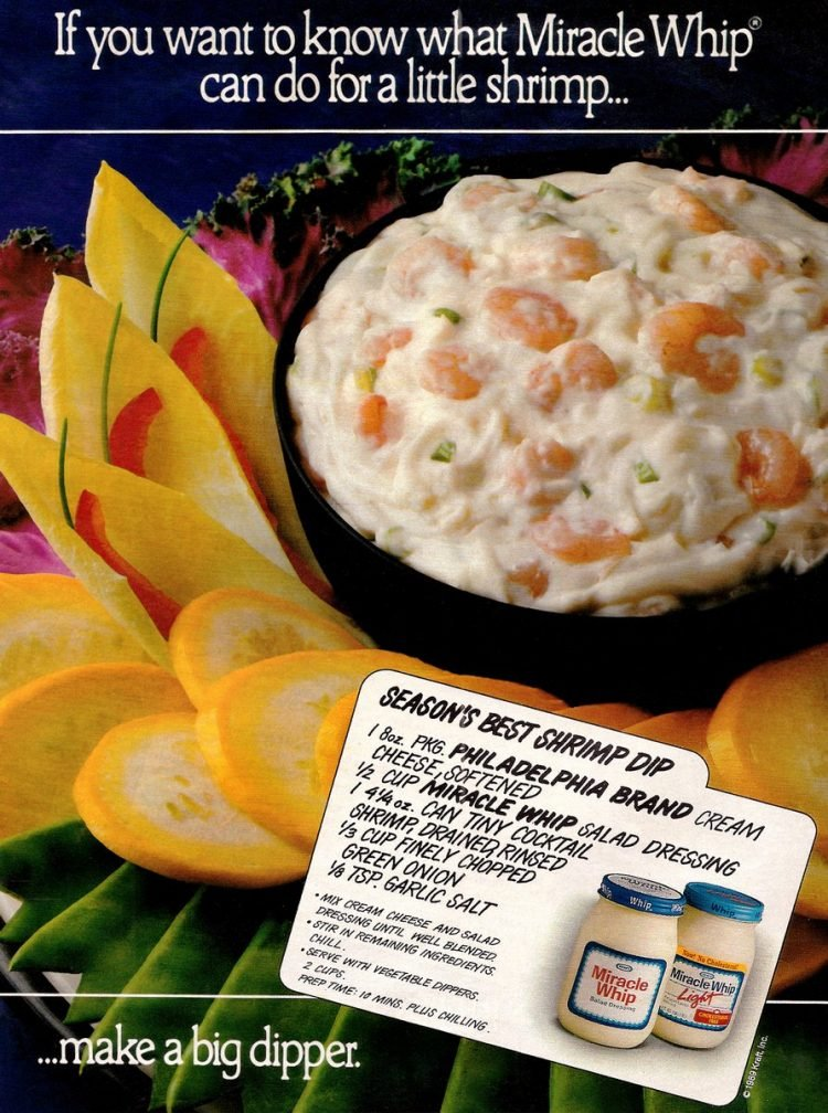 Vintage cream cheese and Miracle Whip Season's Best Shrimp Dip recipe