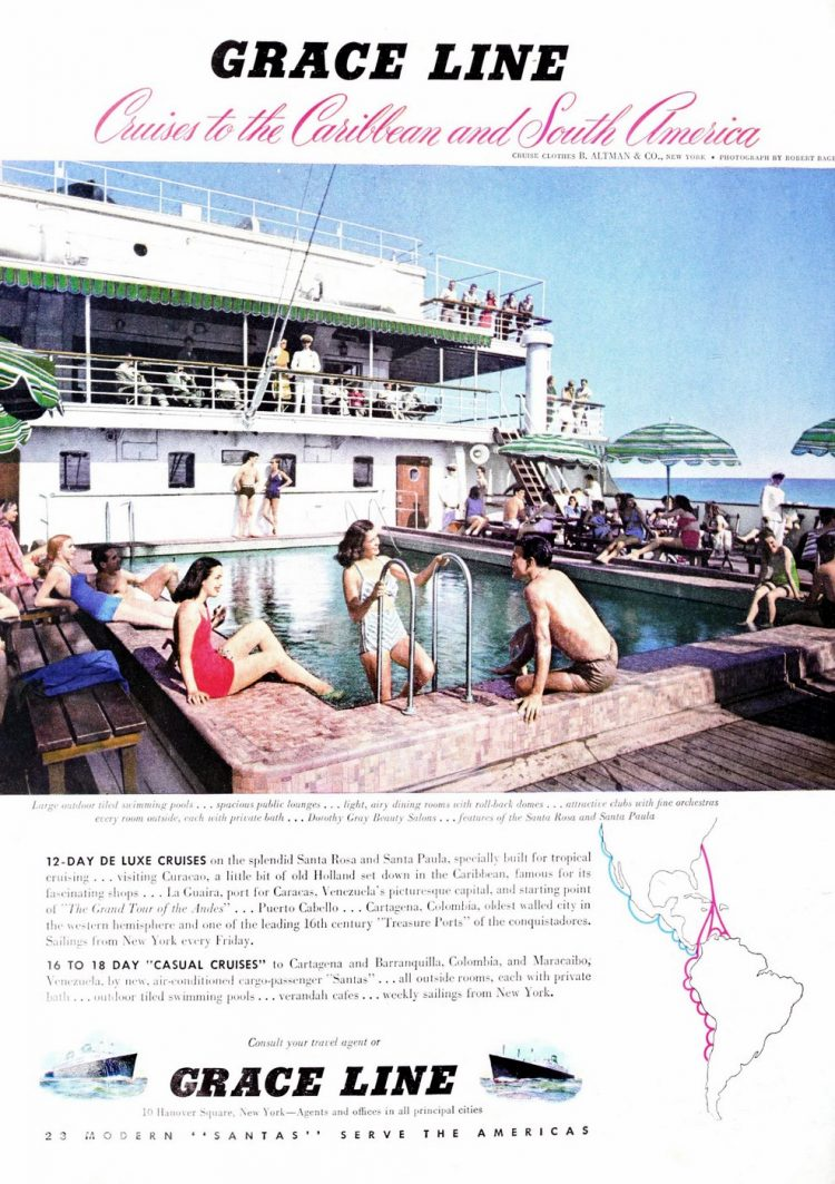 Vintage cruise Grace Line Carribean and South America 1948