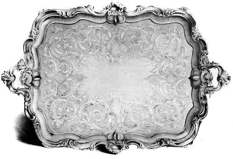 Vintage decorative silver serving tray