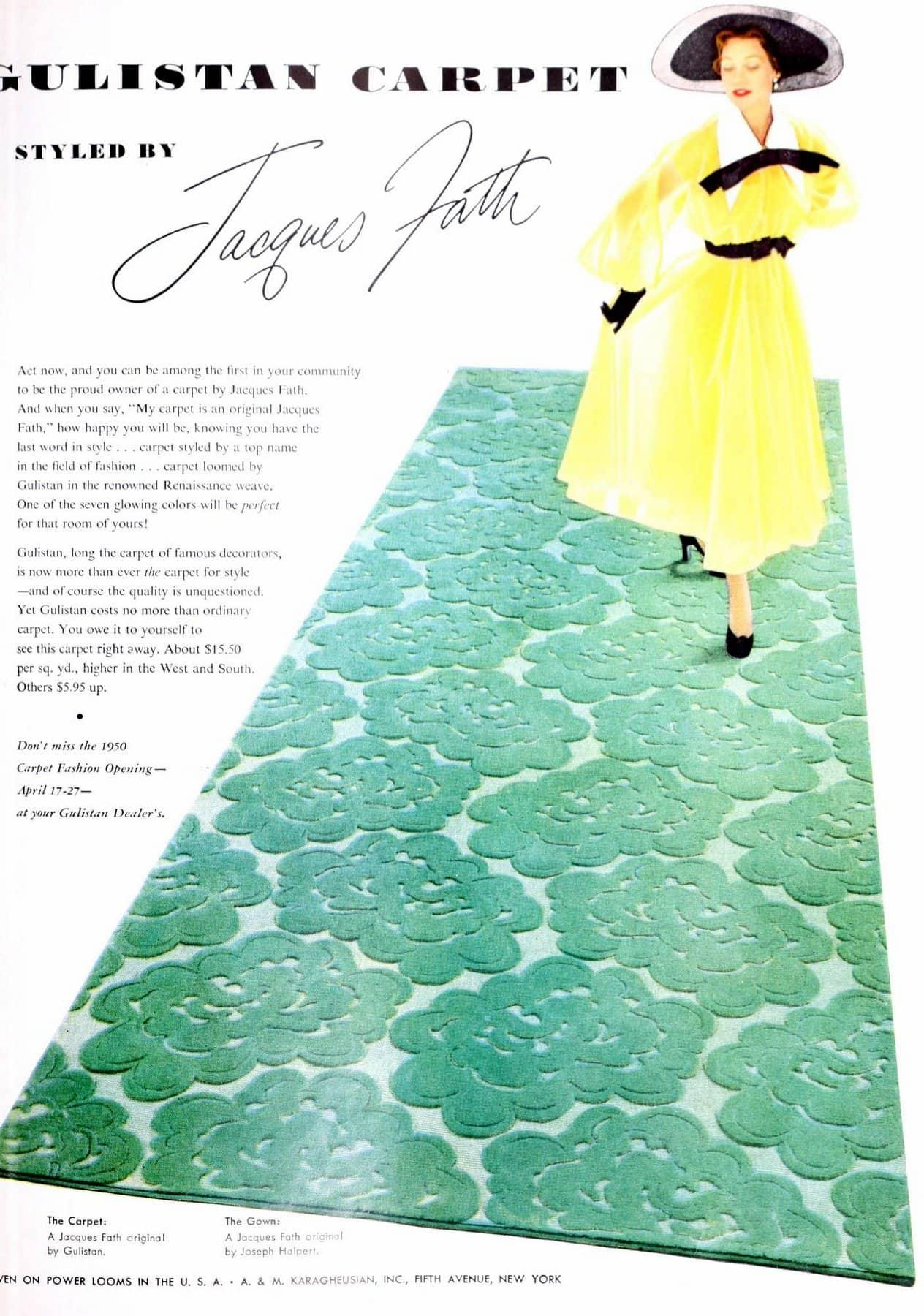 Vintage decorator Jacques Fath sculpted carpet (1950)