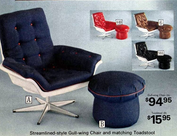 Vintage denim gull-wing chair with matching toadstool ottoman
