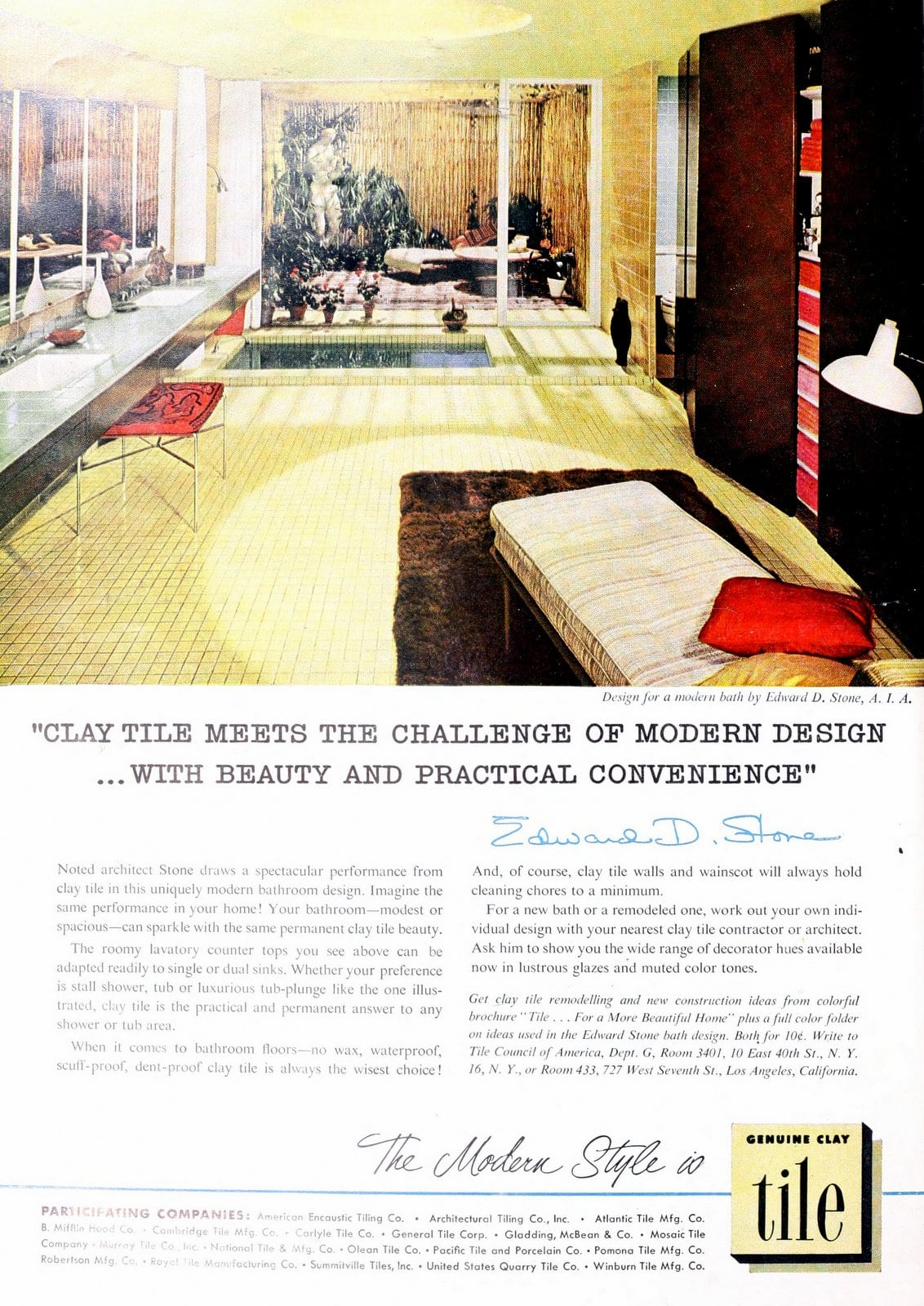 Vintage yellow designer bathroom tile design (1953)