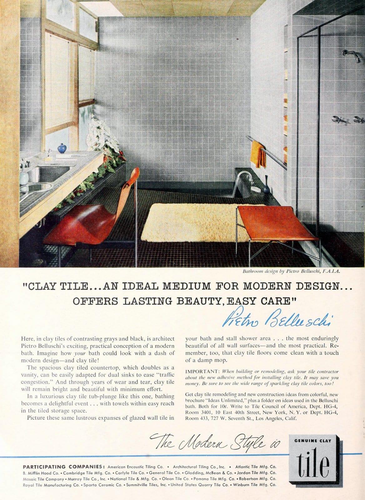 Vintage designer bathroom tile design (1955)