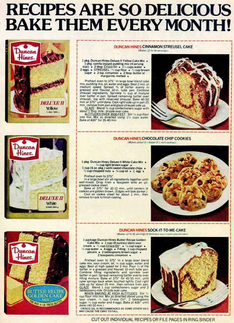 Vintage dessert recipes made with Duncan Hines cake mix